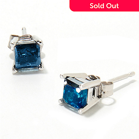134 763 14k White Gold 1 00ctw Square Blue Diamond Stud Earrings