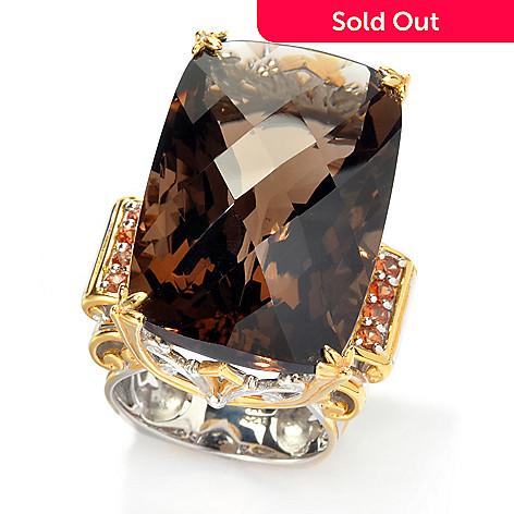 135 824 Gems En Vogue 50 40ctw Smoky Quartz Orange Sapphire Elongated Ring