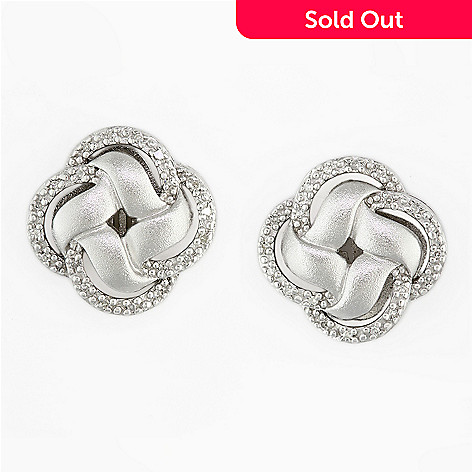 135 856 Effy Sterling Silver 0 11ctw Diamond Knot Earrings