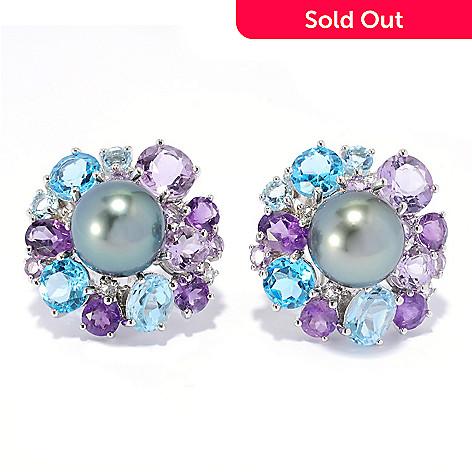 90ab73903 136-423- Sterling Silver 12-13mm Tahitian Cultured Pearl & Gemstone Earrings  w
