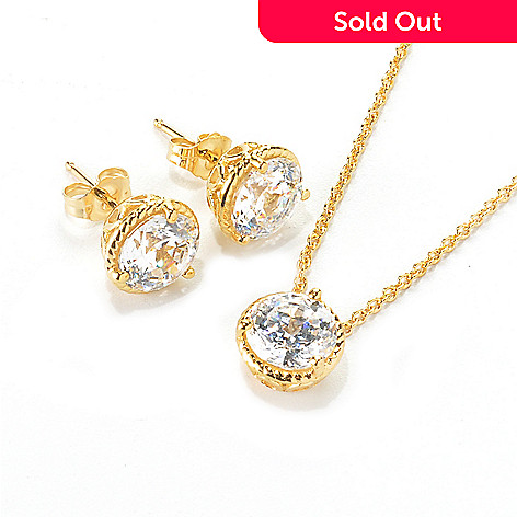136 496 Brilliante 100 Facet Simulated Diamond Stud Earrings Pendant Set