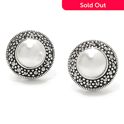 136 683 Dallas Prince Sterling Silver 8mm Simulated Pearl Earrings Made W Swarovski