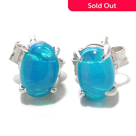 136 919 Gem Treasures Sterling Silver 7 X 5mm Ethiopian Opal Stud Earrings