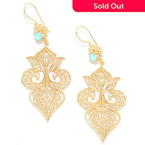 137 626 Antalia Turkish Jewelry 18k Gold Embraced 2 75 Turquoise Filigree