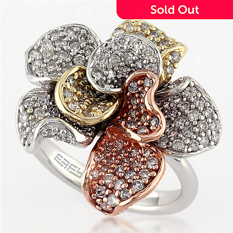 02748a997 Effy 14K Tri-Color Gold 1.52ctw Diamond Flower Ring - Size 7 - EVINE