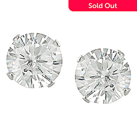 137 978 Tressa Collection Sterling Silver Round Cut Simulated Diamond Stud Earrings