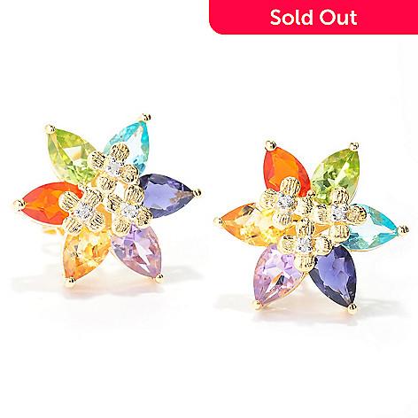 519e60118 138-185- NYC II® 3.63ctw Pear Shaped Multi Gemstone Flower Stud Earrings