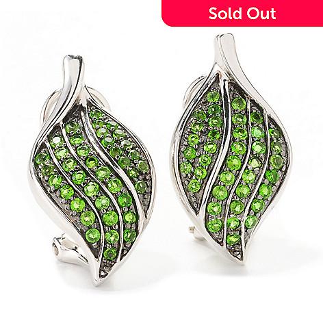 139 162 Gem Treasures Sterling Silver 1 16ctw Chrome Diopside Leaf Earrings W