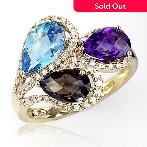 fad93c638 Effy 14K Gold 4.32ctw Multi Gemstone & Diamond Trio Ring - Size 7 ...