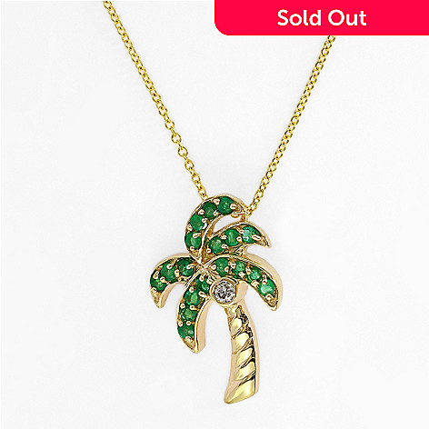 Effy 14k gold emerald diamond palm tree pendant w 18 chain evine 140 351 effy 14k gold emerald diamond palm tree pendant w 18 mozeypictures Gallery