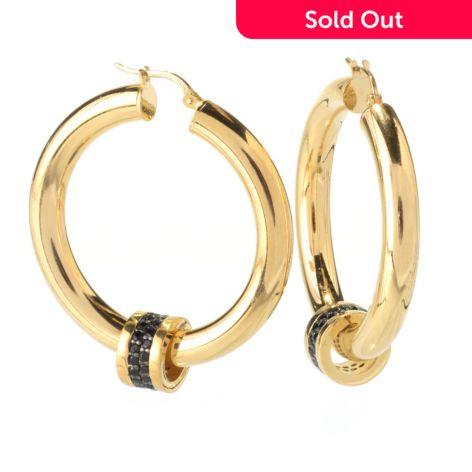 Portofino18k Gold Embrace 1 75 1 44ctw Black Spinel Hoop Earrings