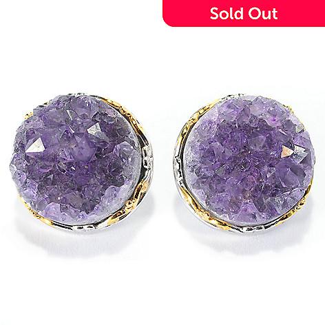 Gems en Vogue 15mm Round Uruguayan Amethyst Geode Stud Earrings