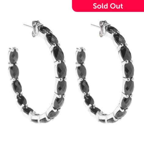 Gem Treasures Sterling Silver 1 5 14 00ctw Oval Black Spinel Hoop