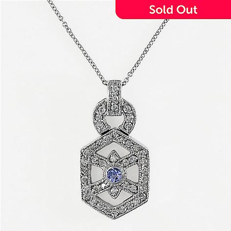 Effy 14k white gold 057ctw diamond tanzanite pendant w 18 chain 142 623 effy 14k white gold 057ctw diamond tanzanite pendant w aloadofball Images