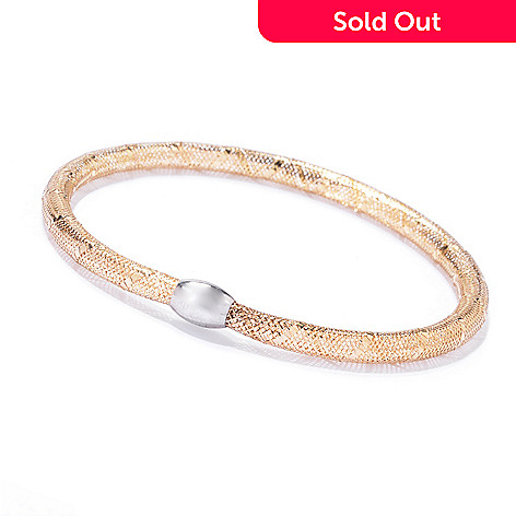 142 784 14k Two Tone Gold Mesh Stretch Bracelet 1 3 Grams