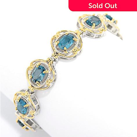 144 505 Gems En Vogue 10 56ctw London Blue Topaz Beaded Halo Tennis Bracelet