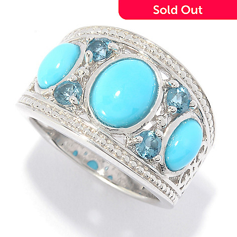 774a39601 144-682- Gem Insider® Sterling Silver Sleeping Beauty Turquoise & London Blue  Topaz