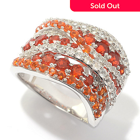 a6a351afe177f Gem Treasures® Sterling Silver 1.73ctw Round Fire Opal & White Sapphire Ring