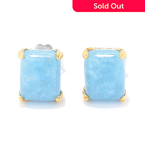 145 727 Gems En Vogue 9 X 7mm Milky Aquamarine Stud Earrings
