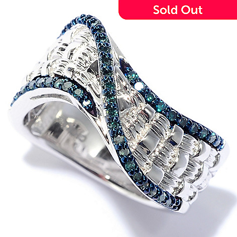 b686ce30af5db Diamond Treasures® Sterling Silver 0.23ctw Round Blue Diamond Wave Band Ring