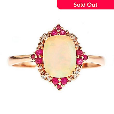 2ef148ea7f692 Fierra™14K Rose Gold Ethiopian Opal, African Ruby & Diamond Ring
