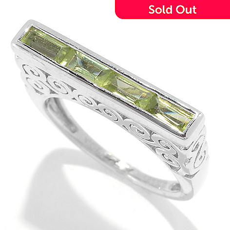31f7c4706ddac Gem Treasures® Sterling Silver Baguette Gemstone Scrollwork Stack Ring