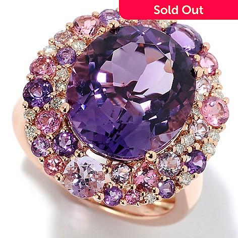 baa4f751d 149-784- EFFY 14K Rose Gold 7.84ctw Amethyst, Diamond & Tourmaline Ring