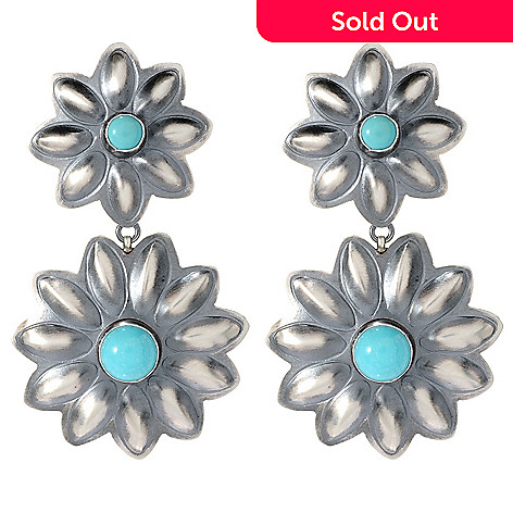 150 596 Dine Spirit Sterling Silver 2 25 Campitos Mexican Turquoise Flower Earrings