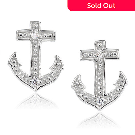 bc2fe08ed279b Tressa Collection Sterling Silver Simulated Diamond Anchor Stud Earrings
