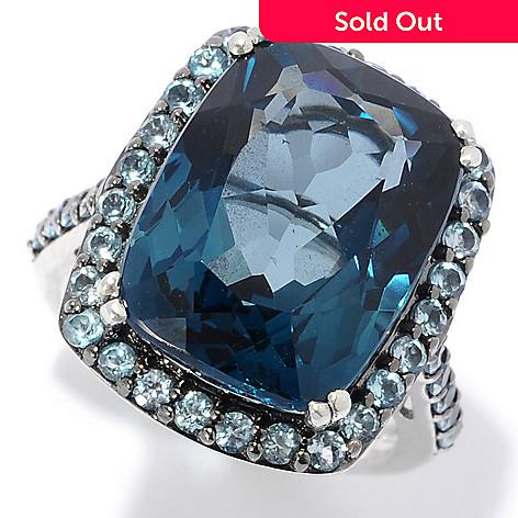 Nyc Ii 9 04ctw Cushion Cut London Blue Topaz Round Swiss Blue Topaz Halo Ring
