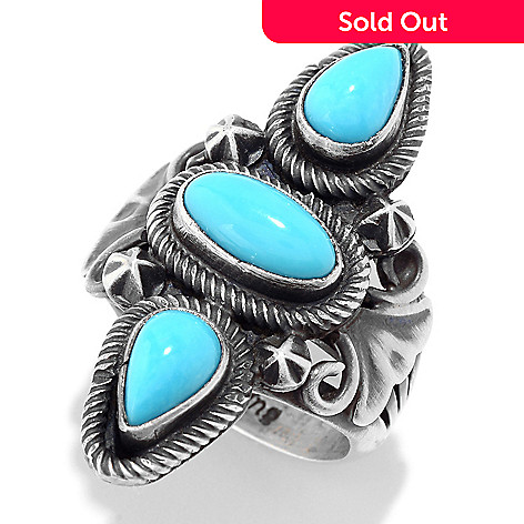 Dine Spirit™ Sterling Silver Sleeping Beauty Turquoise Handmade Elongated  Ring