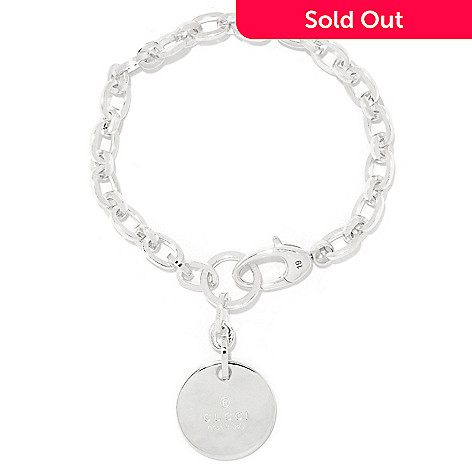 151 736 Gucci Trademark Sterling Silver Round Drop Charm Oval Link Bracelet