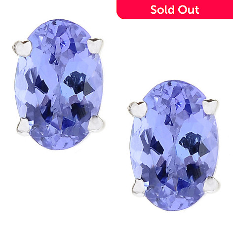 152 846 Gem Treasures 14k White Gold Oval Tanzanite Stud Earrings