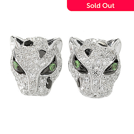 153 420 Effy 14k Gold 0 48ctw Diamond Tsavorite Panther Stud Earrings