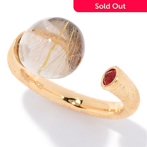 9d9d5fbff4eb8 Michelle Albala 11 x 9mm Rutilated Quartz & Fire Opal Open Band Ring