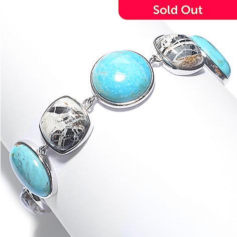 154-140- Gem Insider® Sterling Silver Multi Gemstone Adjustable Toggle  Bracelet
