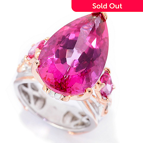 b1c7a283180f 154-945- Gems en Vogue 14.82ctw Pear Shaped Pink Topaz Cocktail Ring