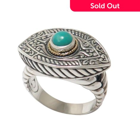 Artisan Silver by Samuel B  18K Gold Accented Stabilized Turquoise Evil Eye  Ring - Size 7