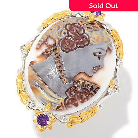 323b8537933d4 Gems en Vogue Final Cut 30 x 22mm Carved Tiger Shell Portrait Cameo & Multi  Gem Ring