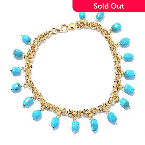 a67f56f5d230c5 156-448- Viale18K® Italian Gold Rectangular Turquoise Bead Byzantine  Bracelet
