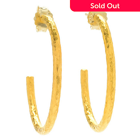 157 591 Cevherun 24k Gold 1 Hammered Satin Finished Hoop Earrings