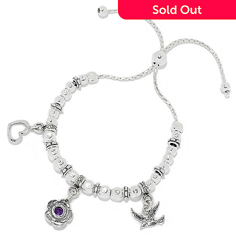 0d054cb6d332 158-134- Passage to Israel™ Sterling Silver Gem Inspirational Charm  Adjustable Slide Bracelet