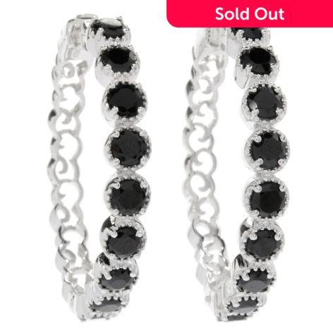 Nyc Ii 1 5 3 52ctw Black Spinel Hoop Earrings Evine