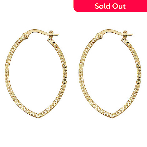 158 878 14k Gold 1 5 Diamond Cut Marquise Shaped Hoop Earrings