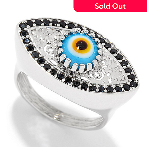 159-406- Passage to Turkey™ Sterling Silver Black Spinel Evil Eye Ring f00194f91243