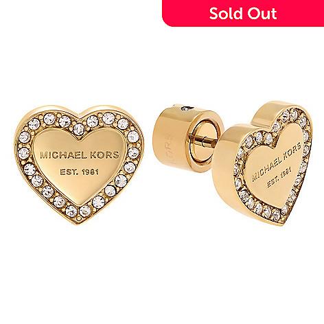 0de3f258084e1c 159-622- Michael Kors Stainless Steel Simulated Diamond Logo Heart Stud  Earrings