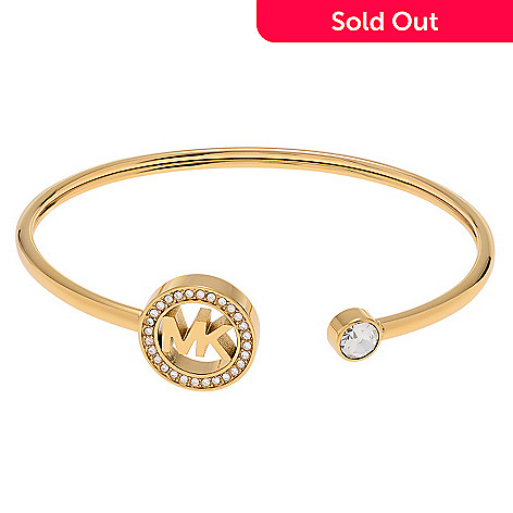 159 627 Michael Kors Stainless Steel 6 25 Simulated Diamond Logo Cuff Bracelet