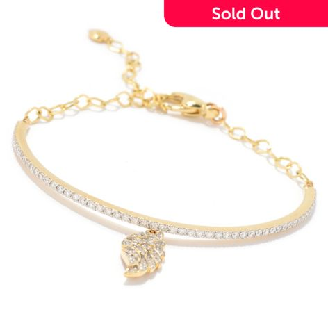 Beverly Hills Elegance 14k Gold 1 00ctw Diamond Angel Wing Charm Bracelet