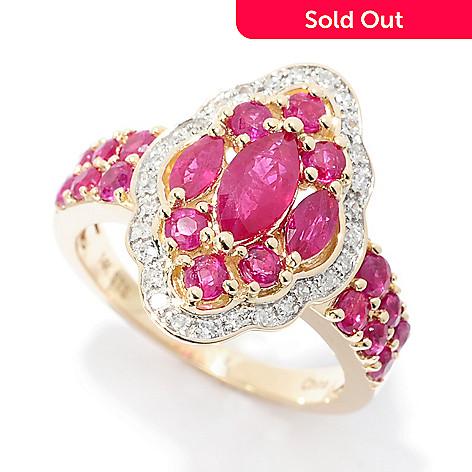 07d9e4f27 159-858- Gem Treasures® 14K Gold 2.41ctw Burmese Ruby & Diamond Marquise
