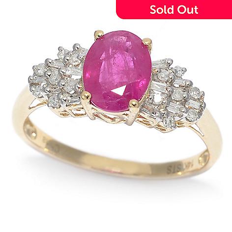 3676fbabe235ed 160-045- Gem Treasures® 14K Gold 1.41ctw Burmese Ruby & Baguette Diamond
